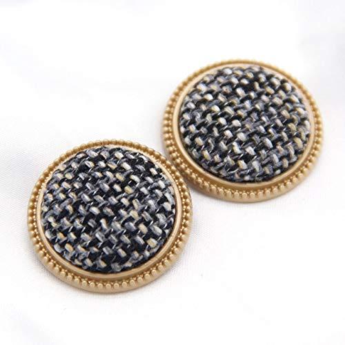 DINGM 25mm Tweed Tela Escocesa Cubierta de Metal Botones Dorados Mezcla de Colores Abrigo de MujerAccesorios dedecoración Vintage