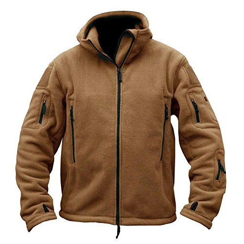 ReFire Gear Mens Warm Military Tactical Sport Fleece Hoodie Jacket,XX-Large,Khaki