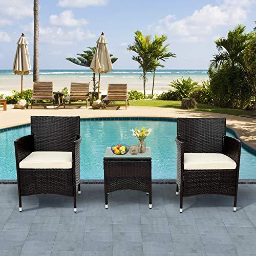 Itopfoxeu Set di mobili da balcone in polyrattan per 2 persone, 1 tavolo e 2 poltrone, resistente alle intemperie, per giardino, balcone e terrazzo, con cuscini per seduta marrone