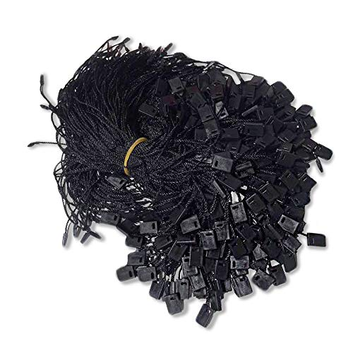 """7"""" Hang Tag String Black 1000Pcs Nylon Snap Lock Pin Loop Fastener Hook Ties Easy and Fast to Attach by SNSE (Black)"""
