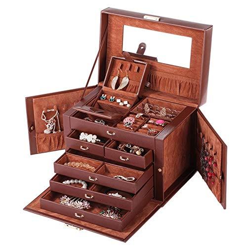 WNN URG - Joyero de piel con diseño de princesa, gran caja de almacenamiento, maleta y cerradura URG (color: marrón)