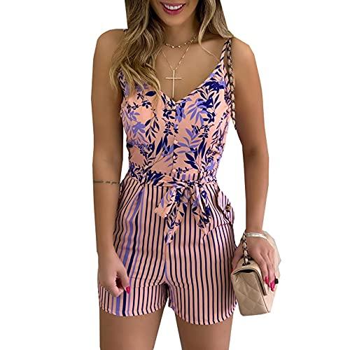 Pantalones Cortos De Moda para Mujer, Pantalones Cortos con Botones De Cintura Alta Y Tirantes Florales para Oficina De Verano para Mujer, Trajes Femeninos