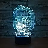 (Solo 1) Lámpara 3d para bebé joven, lámparas de noche LED de 7 colores para niños, lámpara de mesa Usb táctil, lámpara Lampe, lámpara de noche para dormir para bebés