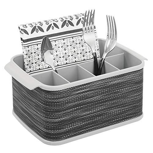 mDesign Besteckhalter mit Griffen – dekorativer Besteckkorb für Küche, Esszimmer, Garten oder Picknick – Besteckorganizer mit 5 Fächern – grau