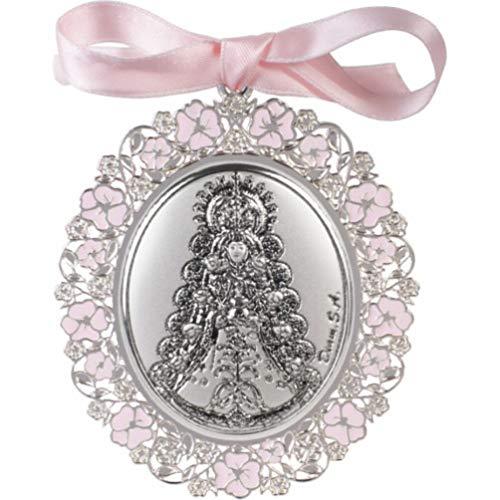 Medalla de Cuna Bilaminada en Plata Virgen Rocio esmalte rosa 09604-7R
