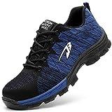 Zapatillas de Seguridad Hombre Zapatos de Mujer Antideslizante Transpirable Zapatos de Trabajo Calzado de Trabajo Ultra Liviano Suave y Cómodo Deportes Unisex, A Azul, 39 EU