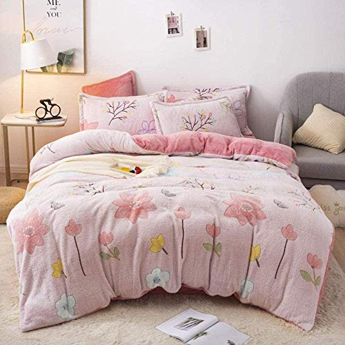 YYHJ Wool Fleece Duvet Cover Double Snow Fleece Quilt Double-sided Warm Four-piece Single Duvet Cover Quilt Cover Extra Large Bedding Set-?_2.0m Bed (4 Pieces) Breathable Fitted Sheets Bedding Fitted