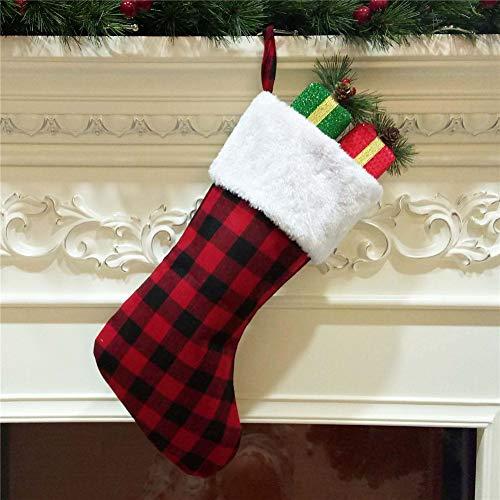 DevileLover Calcetines colgantes de Navidad con diseño de cuadros para colgar en la chimenea, para fiestas de Navidad, decoración del hogar