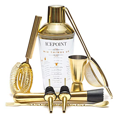 IcePoint 9 Piece Brushed Gold Bartending Kit - Complete Set with Shaker, Bar Measuring Tools and Accessories - 304 Stainless Steel - Tasteful Set for Drinking Alcohol