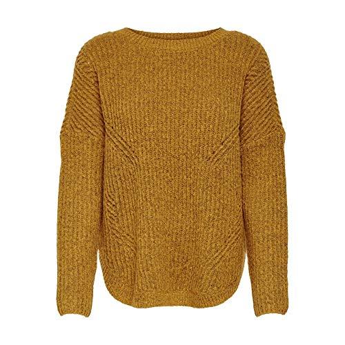 ONLY Damen Onlbernice L/S Round Knt Noos Pullover, Mehrfarbig (Golden Glow Detail: W. Melange), S EU