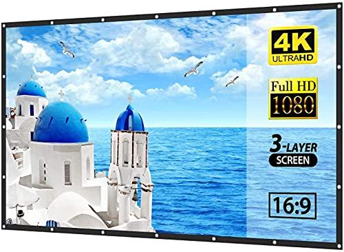 Pantalla de proyección HD 16: 9 Pantalla de poliéster Plegable portátil 100/120/150 Pulgada Proyector Película Interior TV Publicidad al Aire Libre Proyección de Publicidad (Size : 150in)