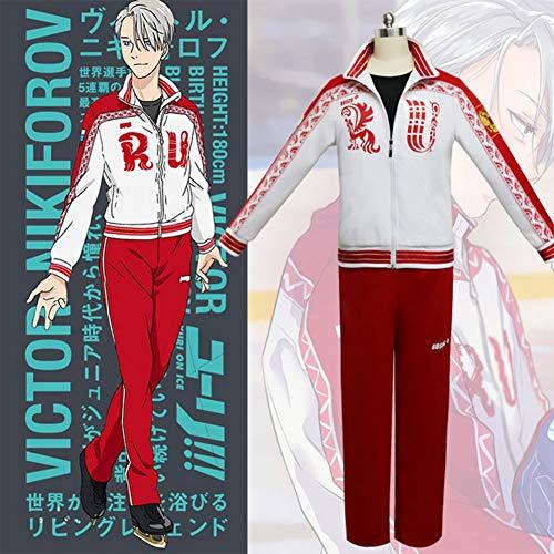 GGOODD Anime Yuri!!! on Ice Victor Nikiforov Cosplay Costume Patinage Artistique Unisexe Lycée Zip-Up Vêtements De Sport Ensemble Complet,Rouge,XL