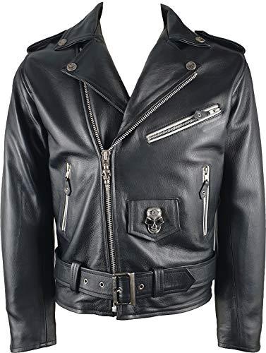 New Rock Uomo Giacca da Moto Brando - Pelle Vera - Nero #HR - Taglia 36 (S)