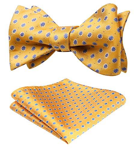 HISDERN SetSense Men's Floral Jacquard Wedding Party Self Bow Tie Pocket Square Set ,K909 Yellow / Blue,One Size