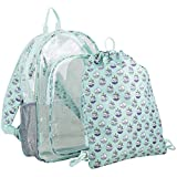 Compact duo system gives you two for the price of one: a large capacity clear backpack and a durable drawstring sling backpack. Versatile kit allows for transition from school or day trip to the gym, park or friend's house with ease. Spacious main co...
