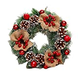 PDGJG 40cm Christmas Wreath Handmade Rattan Pendant Garland Shopping Mall Door Decoration Advent Wreath