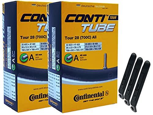 pneugo! Set 2 x Continental Fahrradschlauch 28 Zoll Autoventil 32-622/47-622 (Tour) + 3 Reifenheber