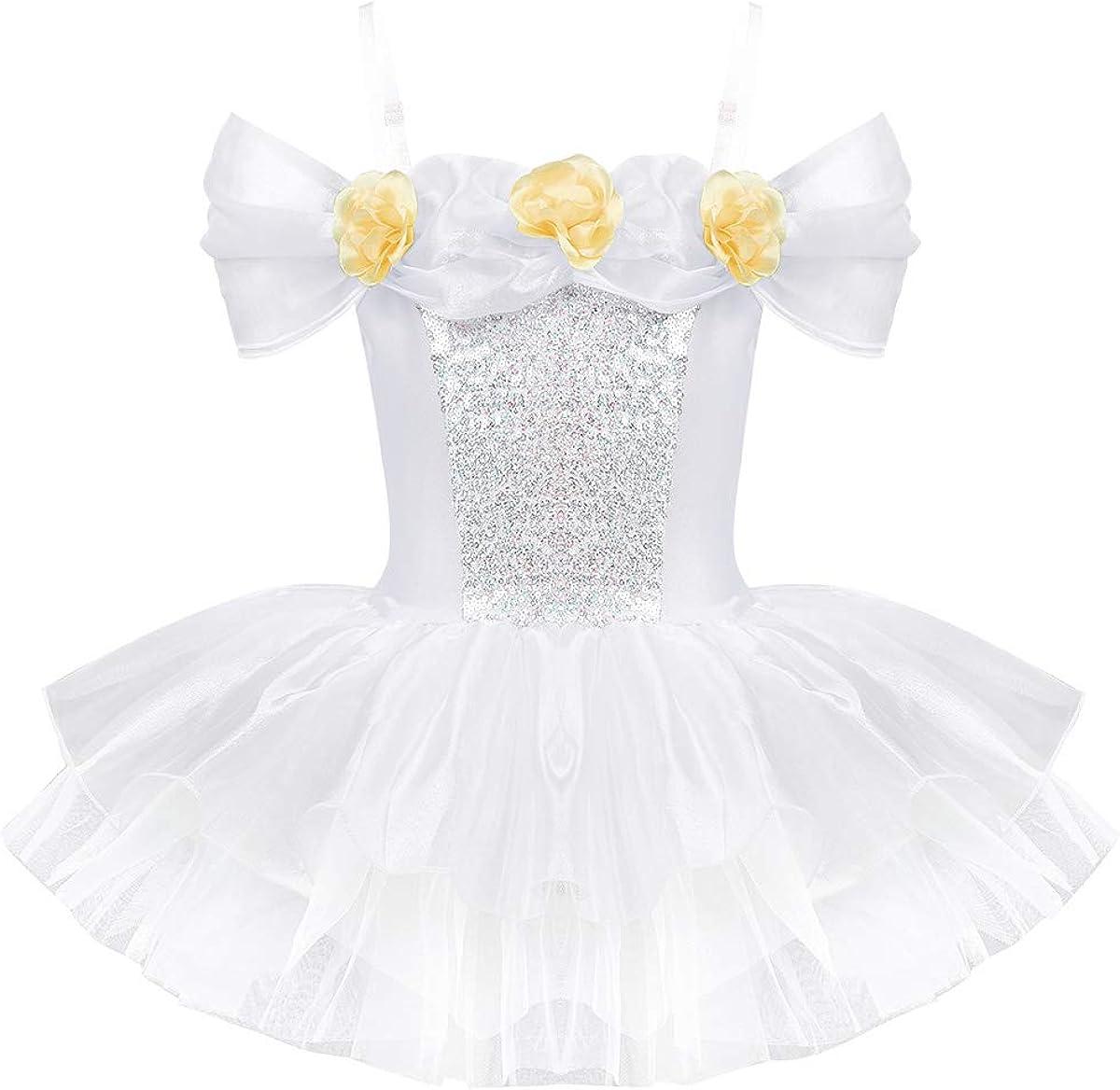 Alvivi Kids Girls Off Large-scale sale Shoulder 3D 100% quality warranty Prin Ballet Dress Tutu Flowers