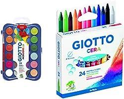 Giotto acquerelli in 24 colori, pastigle da 30mm, con pennello