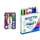 Giotto Acquerelli In 24 Colori, Pastigle Da 30Mm, Con Pennello & 282200 Pastelli A Cera In...
