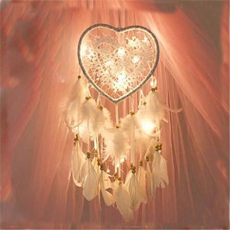 RAILONCH Attrape Rêve, Boho Style LED lumière Handemade pour Décoration Voiture Chambre, Capteur de rêves Tenture Murale déco Romantique (Blanc,lumière)