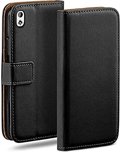moex Klapphülle kompatibel mit HTC Desire 816 Hülle klappbar, Handyhülle mit Kartenfach, 360 Grad Flip Hülle, Vegan Leder Handytasche, Schwarz