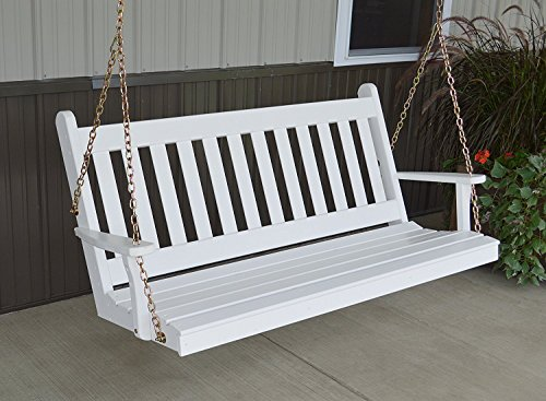 Dress The Yard Traditional Amish-Crafted Yellow Pine Porch Swing (6 Foot, White)