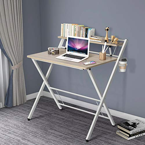 Folding Computer Desk for Small Space, 2 Tier Simple Laptop Writing Table with Shelf, Multipurpose Foldable Study Desk, Kids Desk, No Assembly Needed (Khaki)