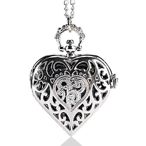 MingXinJia Inicio Relojes de Cabecera Reloj de Bolsillo Vintage, Regalo de Navidad Reloj de Bolsillo en Forma de Corazón de Cuarzo Hueco Plateado Reloj Collar Colgante Regalo para Mujer