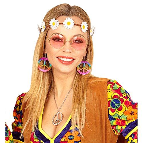 NET TOYS Hippie Kostüm Set mit Haarband, Ohrringe und Brille Flower Power Haarschmuck 60er Jahre Outfit Sixties Damenkostüm Accessoire Damen Mode Zubehör