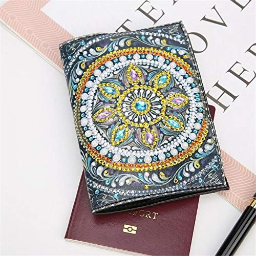 xiaohuhu Passport Cover DIY Diamond Drawing Travel Wallet Point Drill Boarding Pass Bill Holder Leather Passport Holder Protective Cover Suitable for Passports of All Countries