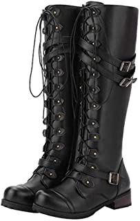 2ec4a43c935 Women's Wick Lace-up Punk Tactical Thigh High Boots Military Buckle Gothic  Steampunk Combat Shoes