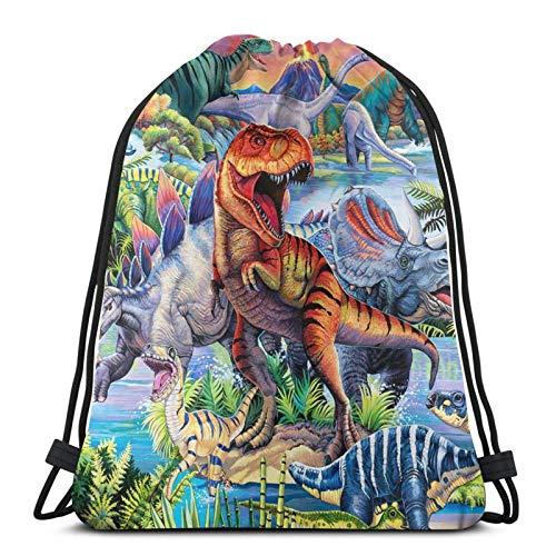Lmtt Mochila con cordón Mochila deportiva Mochila de viaje Bolsa de viaje Dinosaur World