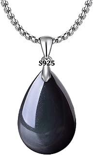 HERLANKKI 925 Black Obsidian Drop Pendant with Faint Rainbow Eyes Necklace Amulet Gemstone Stainless Steel/Titanium/925 Chain Necklace