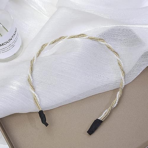 Fuduoduo Impresa Nudo De Moda Diadema,Entrada de Perlas Hecha a Mano Simple-Diadema f,Turbantes para Mujer Cabello Hair Band