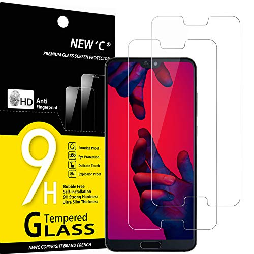 NEW'C Lot de 2, Verre Trempé Compatible avec Huawei P20 Pro, Film Protection écran sans Bulles d'air Ultra Résistant (0,33mm HD Ultra Transparent) Dureté 9H Glass