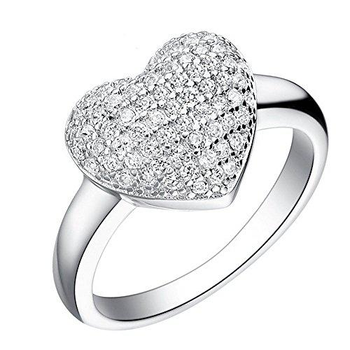 Uloveido Oro Blanco Plateado Diamante sintético Racimo en Forma de corazón Halo Compromiso Mujeres Anillos Femeninos J070 (Tamaño 14)