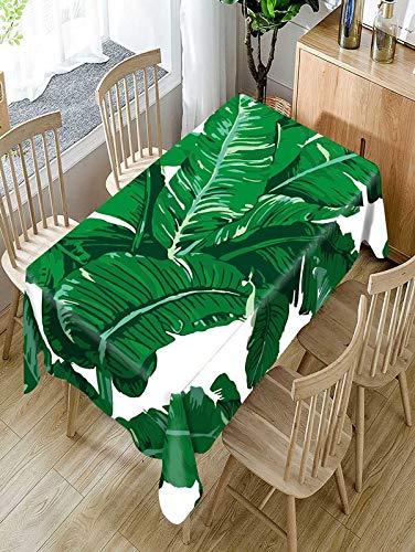 XXDD Mantel de patrón de Planta Verde Tropical Cómodo Mantel Impermeable Mantel a Prueba de Polvo Lavable para el hogar A3 140x200cm