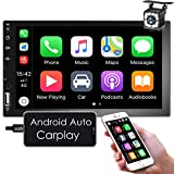 Nhopeew Android Auto/Apple CarPlay Double Din Car Stereo, 7 inch Touchscreen Car Radio with Backup Camera, Bluetooth/FM/RCA/Mirror Link/Steering Wheel Control/TF Card/AUX/USB/Steering Wheel Control