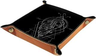 Biaoya Boîte de bureau pliable en cuir PU avec plateau à rouler pour jeux de table Zodiaque Virgo Geometri