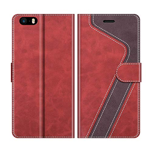 MOBESV Funda para iPhone 5S, Funda Libro iPhone SE, Funda Móvil iPhone SE Magnético Carcasa para iPhone SE/iPhone 5S Funda con Tapa, Rojo(No es Compatible con iPhone SE 2020)