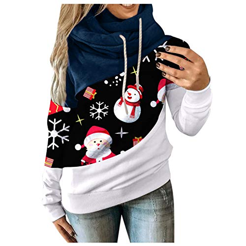 Womens Sweatshirts Quarter Zip Hooded Pullover Solid Casual Long Sleeve Tunic Tops with Pocket Christmas