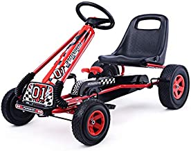 Costzon Go Kart, 4 Wheel Pedal Powered Ride On, Outdoor Racer with Adjustable Seat, Rubber Wheels, Brake, Ride On Pedal Car for Boys, Girls (Red)