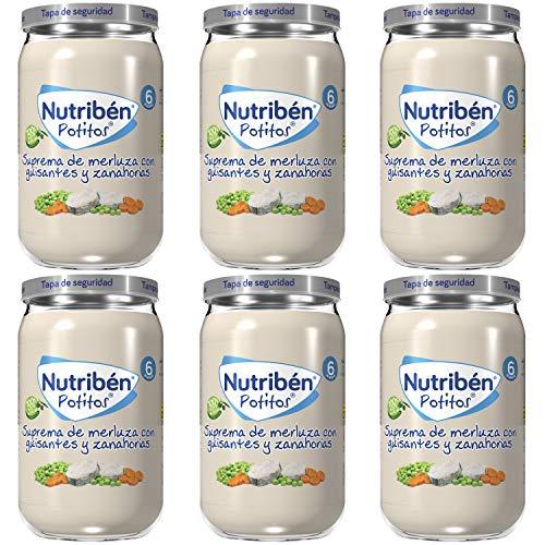 Nutribén Potitos, Desde Los 6 Meses, Pack De 6 X Gr., Suprema De Merluza Con Guisantes Y Zanahorias, 235 Gramo