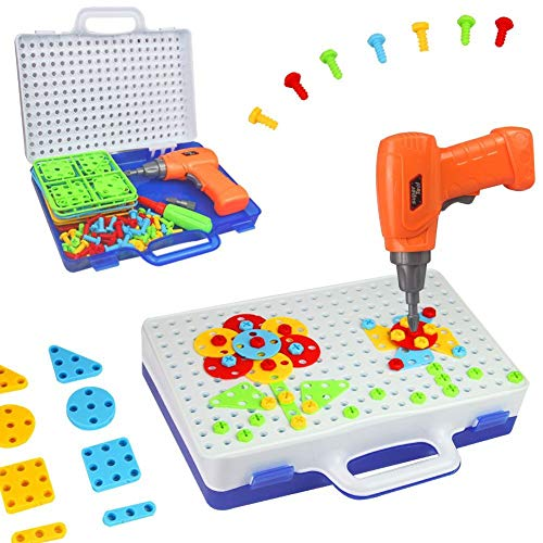 Mango Town Steckspiel Bausteine Spielzeug Puzzle Kinder Bauspielzeug mit Drillen Konstruktionsspielzeug Spielwerkzeug DIY Werkzeuge Spielzeug Steckspiele für Junge Mädchen 3 4 5 6 Jahre Alt
