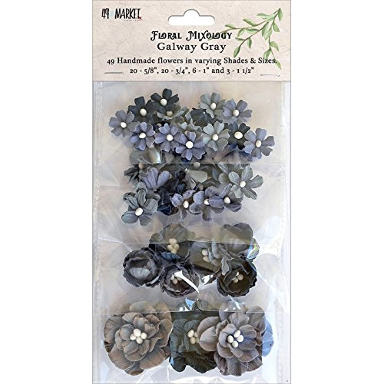 49 and Market FM-85793 Paper Flowers Sizes 49/Pkg, Galway Gray