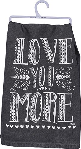 Primitives by Kathy Black Cotton Dish Towel, 28 x 28-Inches, Love You More