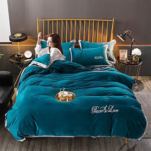 Satijnen beddengoed sets, beddengoed set, volwassen effen kleur blauw dekbedovertrek katoen winter verdikking om warm te houden anti-allergie anti-rimpel King Queen size