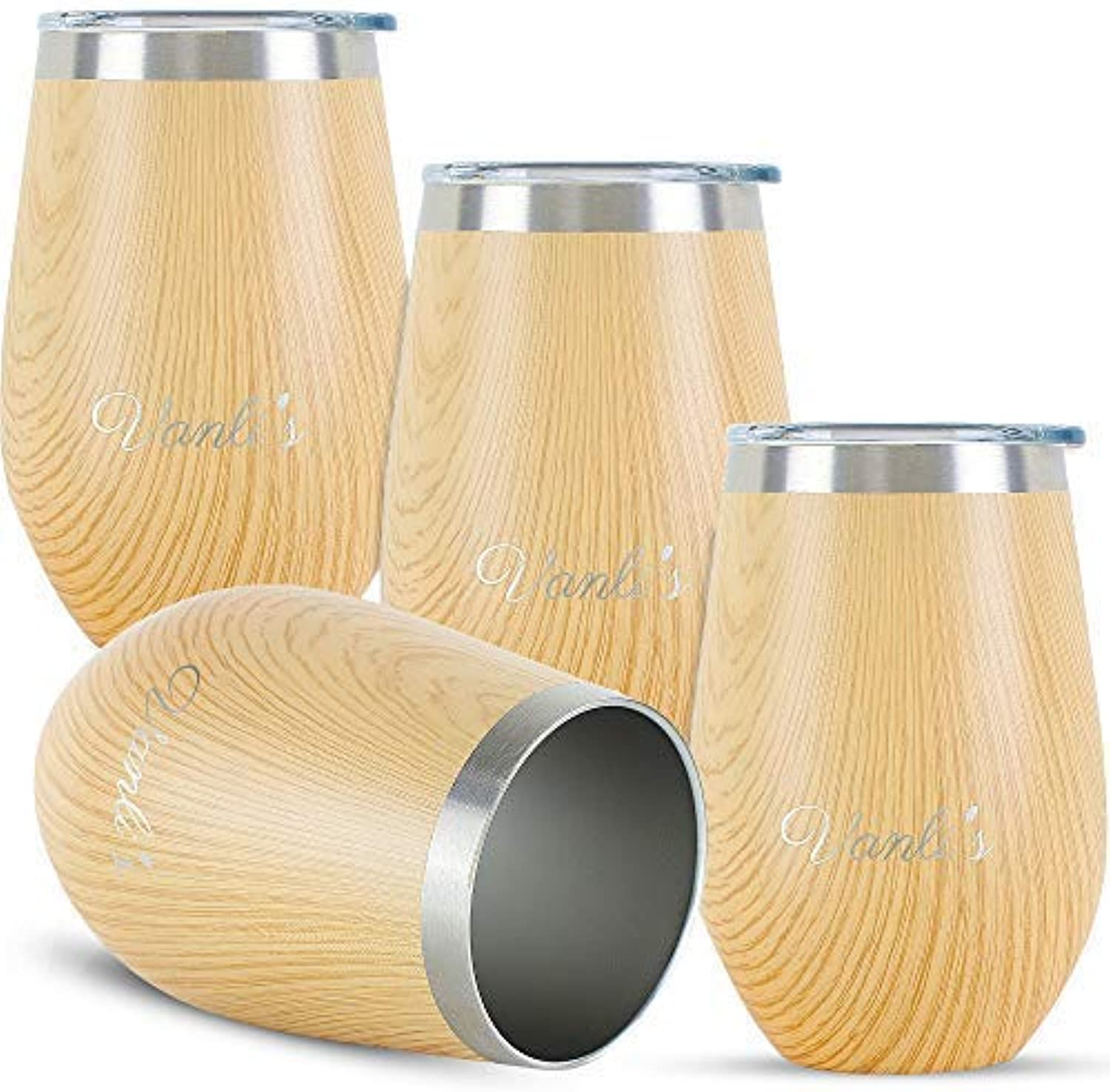 Vanli's Fancy 12oz Wine Tumbler   Double-Wall Vacuum-Insulated Cups to Maintain Temperature for 6 Hours   for Indoor, Travel, Outdoor & Drinking   Durable Stainless-Steel Beige Wood   Pack of 4