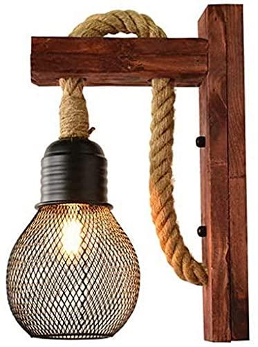Lámparas de Pared,Lámpara de pared Retro Industrial Lámpara de pared Interior Vintage Madera maciza Cuerda de cáñamo Luces de pared, Apliques de pared ajustables arriba y abajo Jaula Hollow Out Ir